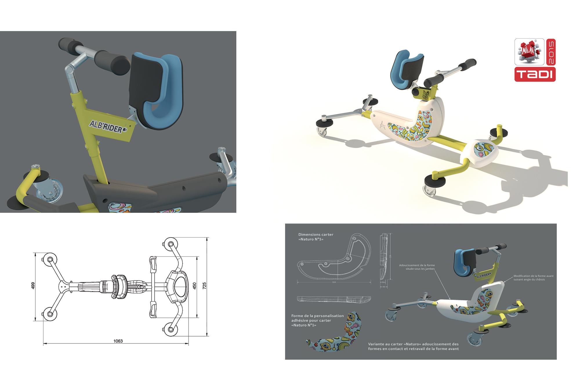 Appareil de déambulation pour enfants polyhandicapés - détails de conception