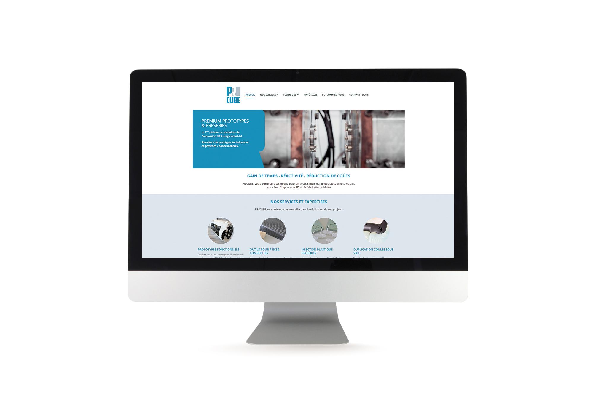 Conception du webdesign du site internet PR Cube