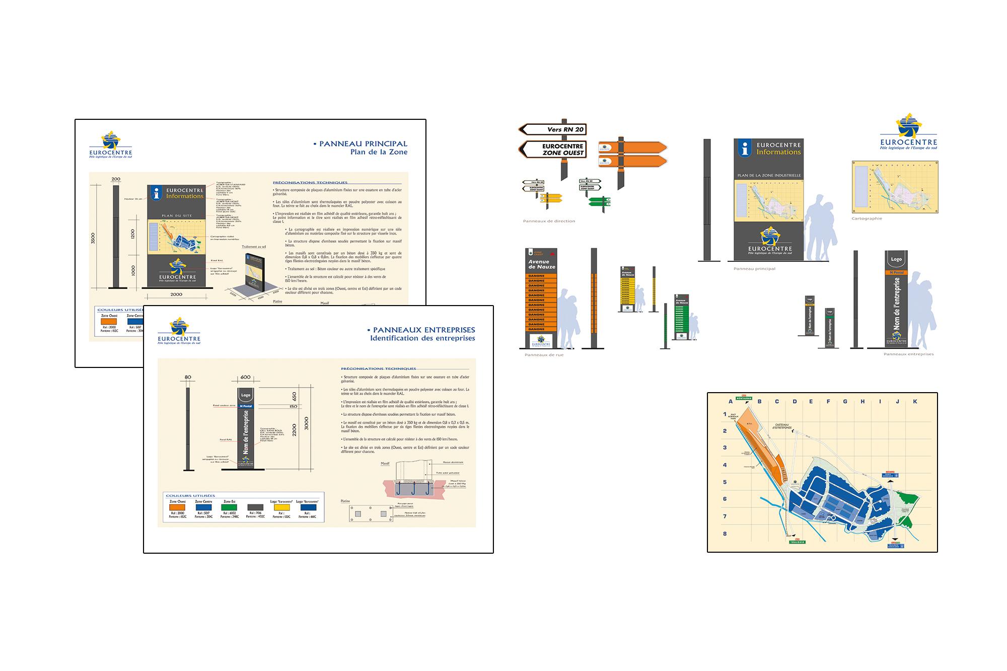 Etude signalétique d'un pôle logistique - charte et design produits