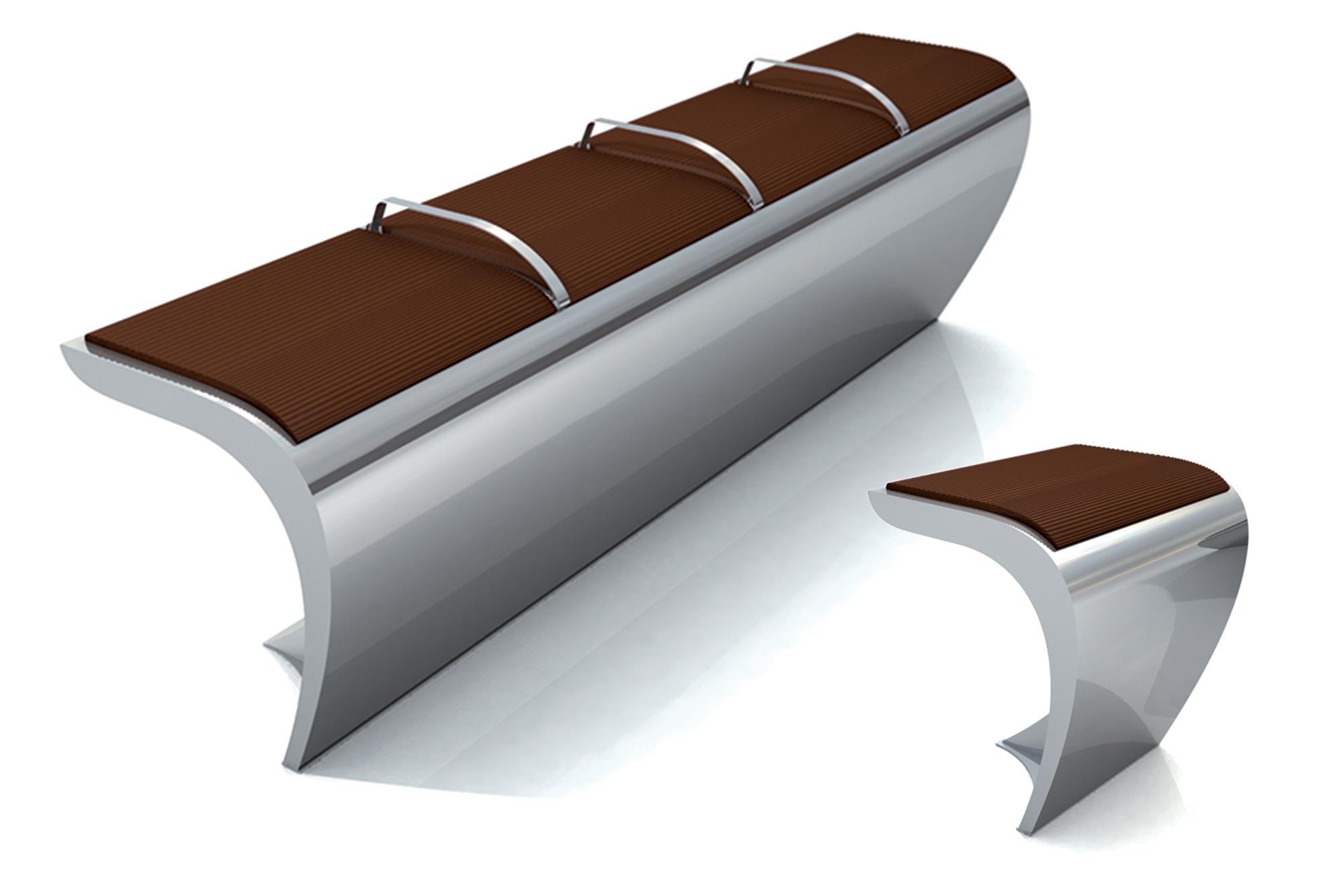 Mobilier en inox pbo design agence de design global for Banc inox design