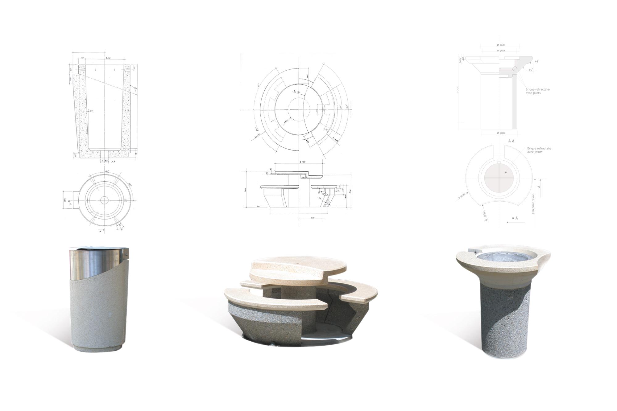 Mobilier d'aire de repos - details
