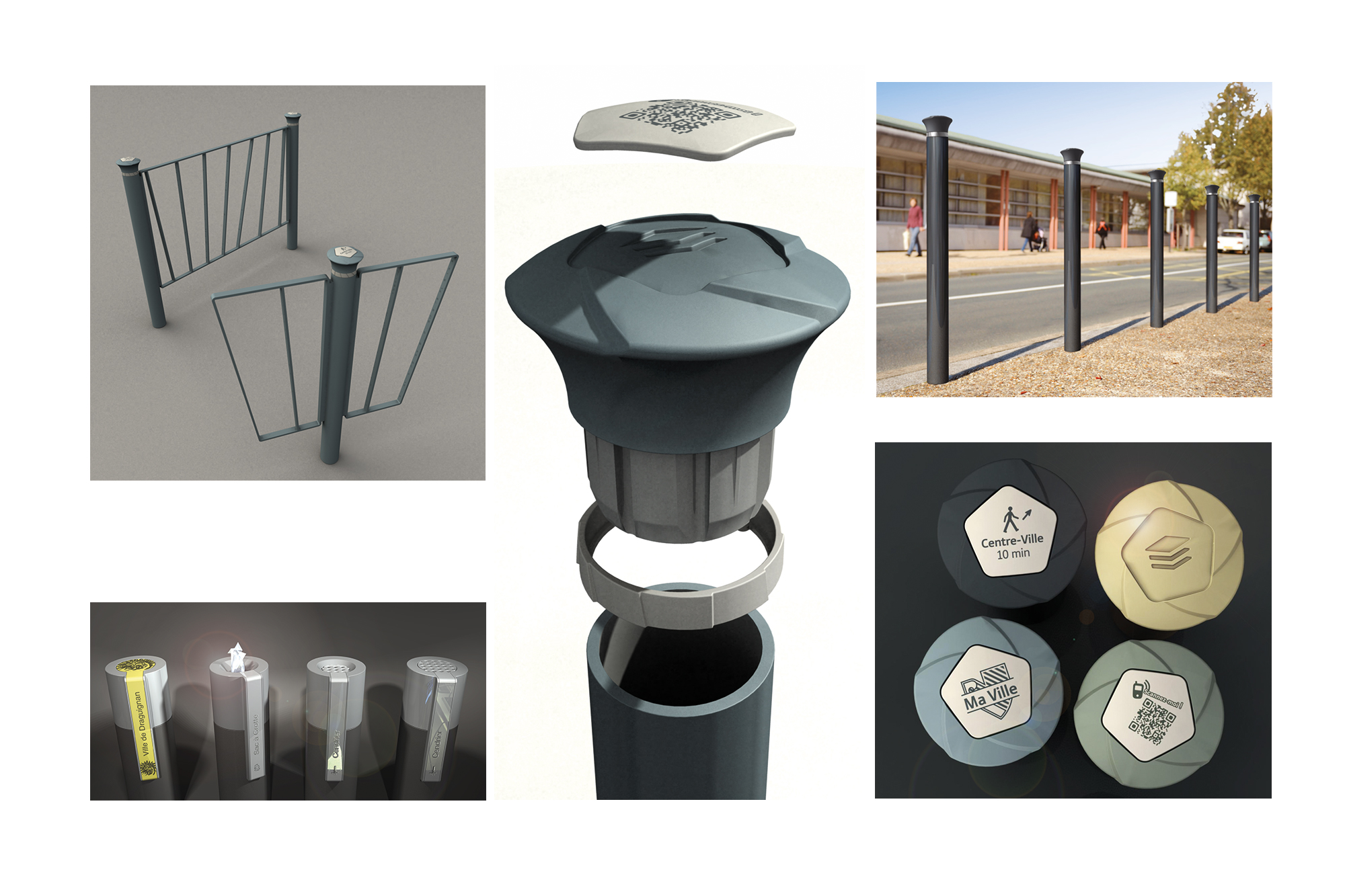 Pommeau de mobilier urbain Reflex - personnalisation et déclinaison