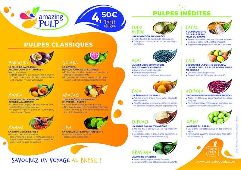 Carte des pulpes Amazing Pulp