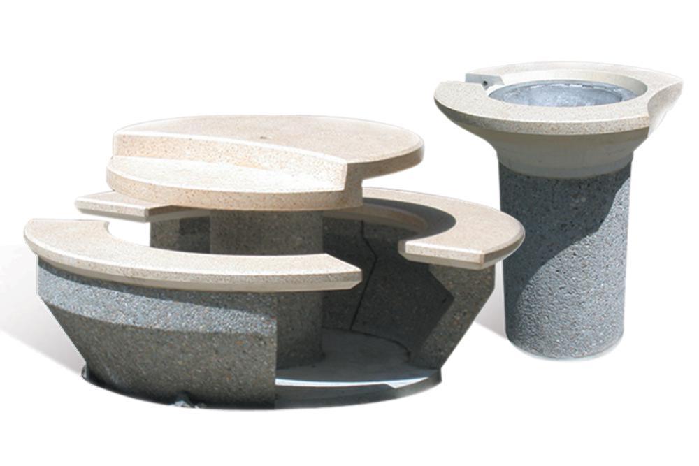 Mobilier d'aire de repos en béton / inox - VAL D'AZUN